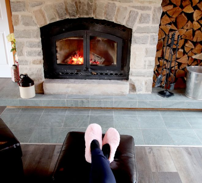 The Wood Burning Fireplace at The Blue Bruce - Weddings | Bed & Breakfast | Events Near St. Jacobs Ontario